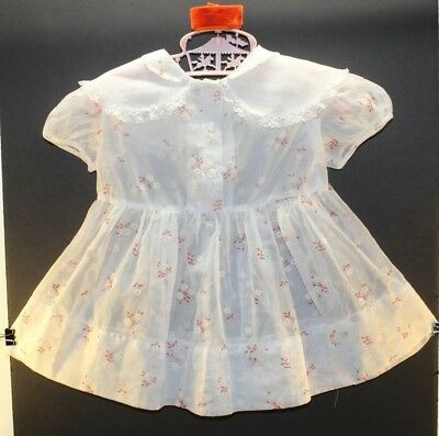 1 Vintage Girls Nylon Dress with White & Reddish Orange Flowers