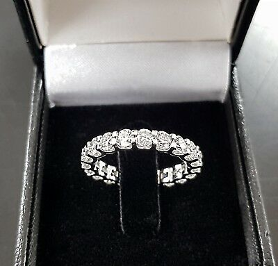 3ct Round cut 14K WHITE gold anniversary ETERNITY diamond engagement ring D VS1