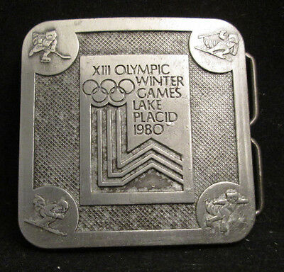 XIII Olympic Winter Games Lake Placid 1980 Metal Belt Buckle Pewter