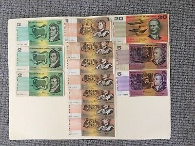 Collection  of decimal banknotes $20,$5, $ 2  $1 ,  1966-1985  F-aVF, 13 notes