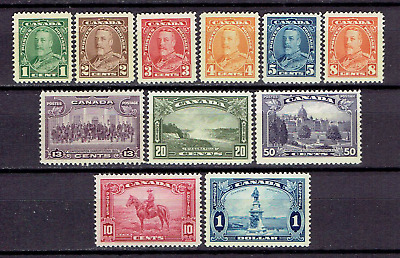 Canada Stamps #217-227 MVLH - 1935 KGV Pictorial Issue Complete Set