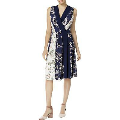 104490a698a Maison Jules Womens Floral Print Sleeveless Knee-Length Wrap Dress BHFO 7043