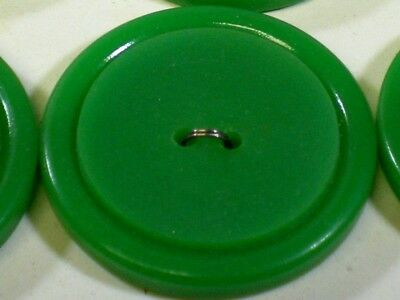 "6 Vintage Green Thick Plastic Casein Buttons On Card 1 1/4"" Quantity Discount"