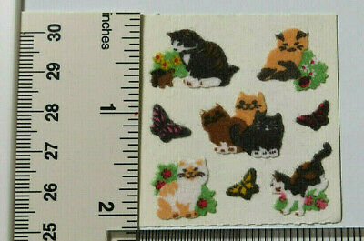 Sandylion FUZZY CATS & BUTTERFLIES - 1 Square RARE RETIRED Stickers LIMITED