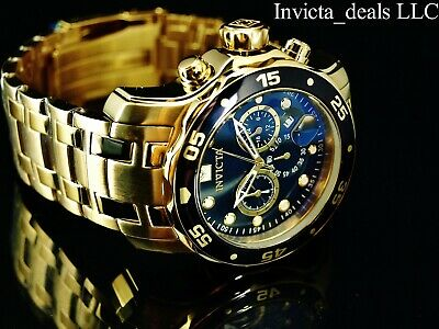 Invicta 48mm Men Pro Diver SCUBA Chronograph 18K Gold Plated BLACK Dial SS Watch