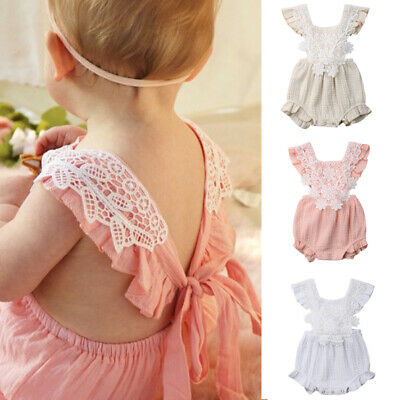 Summer Newborn Baby Girl Ruffle Lace Romper Bodysuit Jumpsuit Outfit Clothes
