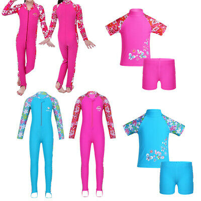 Child Kid Girl Long Sleeve Swimsuit Sun Protective Swimwear Surfing Outfit 2-12Y