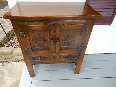 Unique English Oak Carved Double Door Carved Drawer Bar Petite Cabinet Cupboard