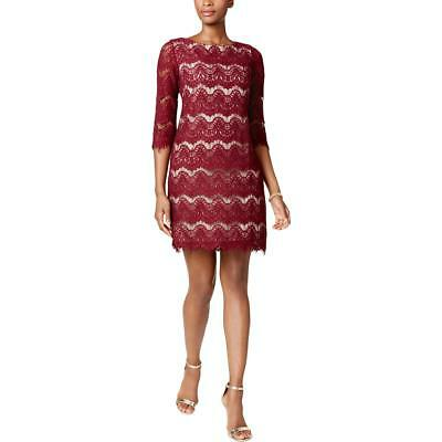 3360f6bc927 Jessica Howard Womens Red Lace Overlay A-Line Party Dress Petites 10P BHFO  9388