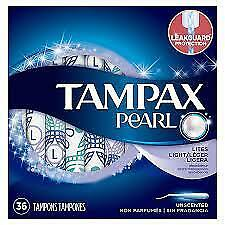 Tampax Pearl Tampons, Plastic, Light Absorbency, Unscented, 36 ct (Pack of 12)