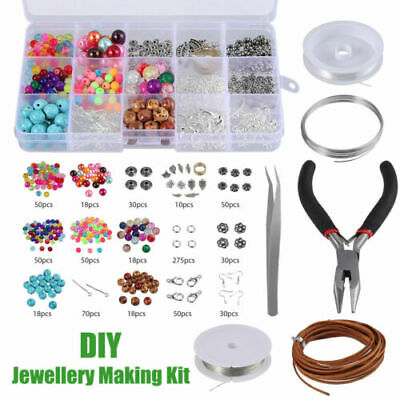 Jewelry Making Kit 48X Pendant Base Tray + 20X Earring Tray + 50X Necklace Rope