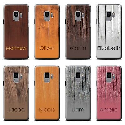 Personalised Name Wood Grain Ombre Effect Phone Case For Samsung Hard Cover