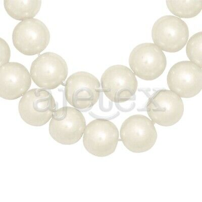 110pcs Ivory White Glass Pearl Spacer Beads Round Crafts Making 8x8mm IFGP3-2