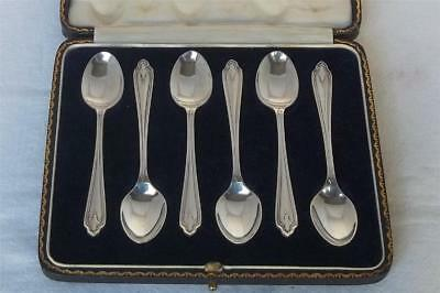 A Stunning Case Set Of Six Solid Silver Demi-Tasse Coffee Spoons Sheffield 1925.