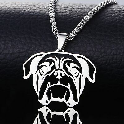 BIG Stainless Steel American English Bull Bulldog Dog Head Tag Pendant Necklace