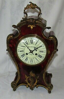 A Delightful Large French Ormolu & Faux Tortoiseshell Mantle Clock By Vincenti
