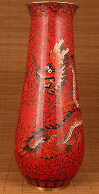 Antique Red Chinese Copper Cloisonne 2x dragon Statue Red Vase home decoration