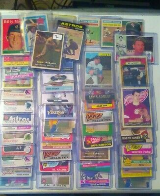 ALL HOF vintage lot.10 card 1960s-2k. *Free stuff !! All sports. Off condition