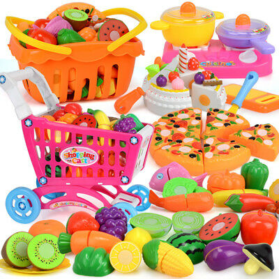 Fruits Vegetable Food Toy Child Kids Pretend Role Playing Plastic Cutting Set )