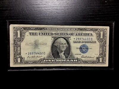 1957 Star $1 Silver Certificate One Dollar  Bill Note  Usa Paper Small Currency!