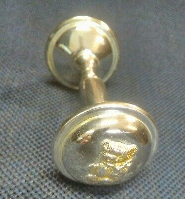 Baby Rattle Metal Silver Plated Bells Christening Gift Birth Infant Child Gift