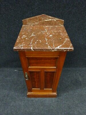 Victorian Marble Top Bedside Cabinet Mahogany Antique