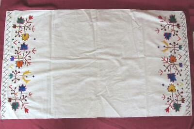 19C Antique Hand Embroidered Cotton Table Cover Napkin