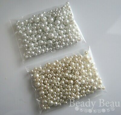 50G Mixed Size Pack Glass Pearls 4Mm 6Mm 8Mm Ivory Or White Mix