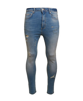 New Mens Superdry Factory Second Spray On Skinny Ankle Jeans North Country Blues