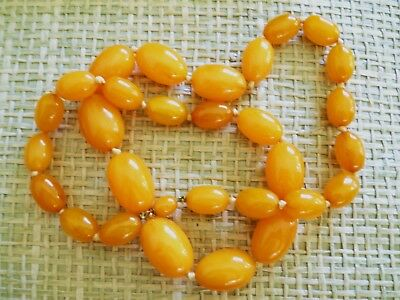 Vintage & Antique Jewelry 14k 65g Solid Amber Old Art Deco Natural Egg Yolk Butter Scotch Amber Necklace Special Summer Sale