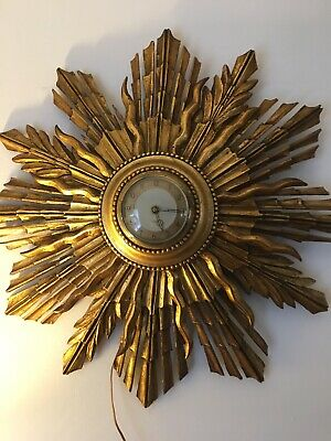 Art Deco Smiths Electric Gilt Sunburst/starburst Wall Clock