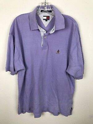 Vintage Tommy Hilfiger Purple Polo Shirt Size L Large Short Sleeve Crest Cotton