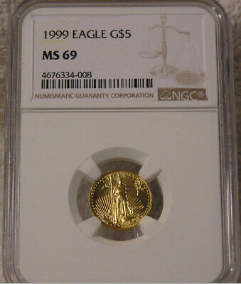 1999 $5 1/10 oz Gold American Eagle Coin NGC MS69 Gem BU UNC Uncirculated PQ+