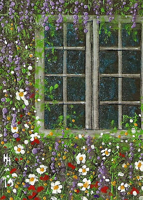 "ACEO ""The Window""  Collage and Acrylic Painting - By Hélène Howse"