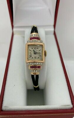 Hamilton Antique Solid 14K Rose Gold Diamond Vintage Ladies Cocktail Watch