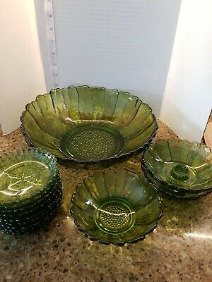 Green Indiana Glass flower Bowl Vintage 60s 70's 12x12  9 coasters 2 candle hold