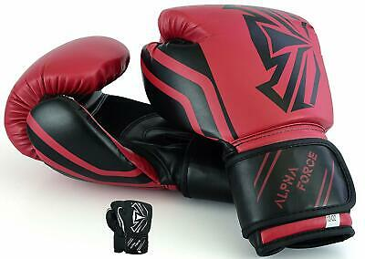 ALPHA FORCE Leather Boxing Gloves MMA Sparring Punch Bag Muay Thai Training Pro