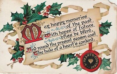 1908 Christmas Postcard Embossed Holly Poem on Parchment Tuck's