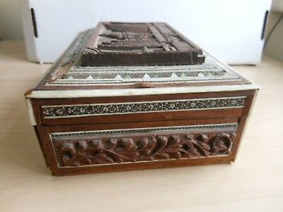 Carved Wood Inlaid Jewellery Box