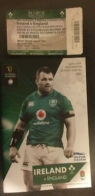 Ireland V England 2019 Programme & Ticket