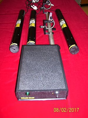 Red Yellow Green HeNe Lab set with Precision adjustable laser stand! Excellent!