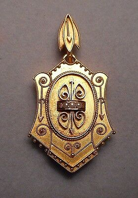 Old Victorian 14K Gold Seed Pearl Etruscan Revival Cartouche Locket Pendant 6.8g