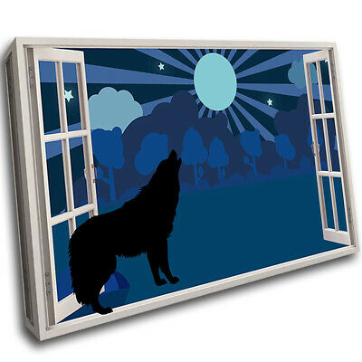 Full Moon Wolf Kids Nursery Framed Wall Mount 3D Art Canvas Picture Room F208