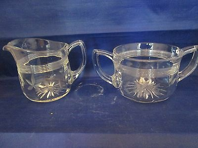 Cut Glass Creamer and Open Sugar Bowl Banded & Leaves