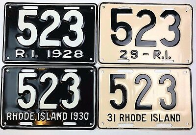 Rhode Island 1928 1929 1930 1931 Old License Plate Lot of 4 Model A Car Restored