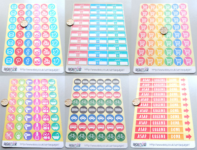 2cm SMALL Planner Scrapbooking Diary Organiser Icon Stickers ~ MULTIPLE DESIGNS