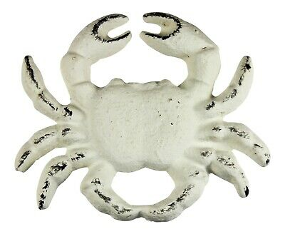 Whitewashed Crab Drawer Pull Painted White Cast Iron Distressed Finish