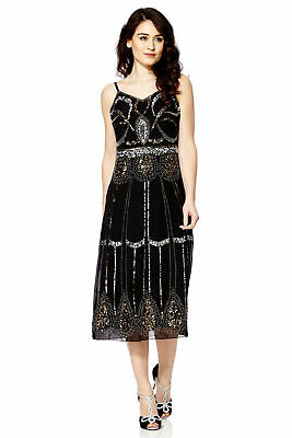 1920s Gatsby Charleston Flapper Sequin Beaded Black Cocktail Dress UK 8