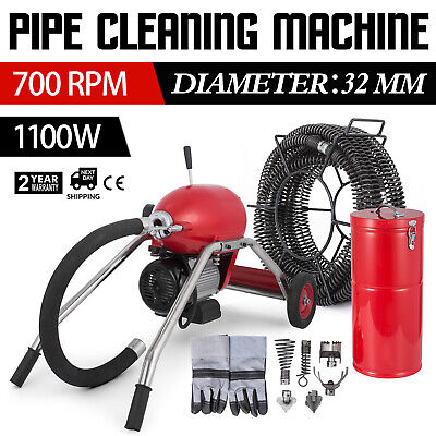 20-200mm Pipe Drain Cleaner 1100W Cleaning Machine 16mx30mm Spiral Set 6 cutters