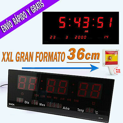 Reloj LED de Pared Digital Extra Grande 36 X 15cm Temperatura Calendario Oficina